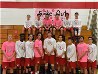 Volleyball Teams Unite for Dig Pink